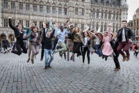 Group jump at the Grand Place in Brussels during Leaders for a Day 2018