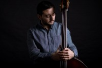 Portrait of jazz musician with contrabass