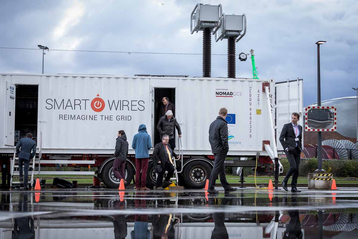 Visitors leave the Smart Wires truck after getting the guided visit tour