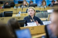 MEP Henna Virkkunen speaking in the EU Parliament during the Why Europe Matters 2018 for JA Europe