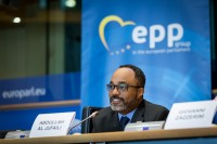 Abdullah Al Jufaili speaking during the EPP conference at the EU Parliament