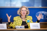 Candace Johnson, President at Johnson Paradigm Ventures, speaking at the EPP conference at the EU Parliament