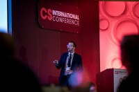 A speaker in the main room giving his presentation during the CS International Conference 2018