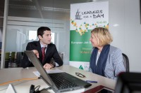 A JA Europe student with Lynn Coutigny Right Management Belgium during Leaders for a Day 2018