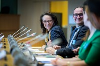 Marie-Elisabeth Rusling smiles during the EPP conference at the EU Parliament