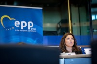 Maryse Louis, FEMISE Association, speaking during the EPP conference at the EU Parliament