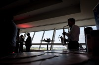 Saxo player silhouette during the Turkish Cargo Award Ceremony