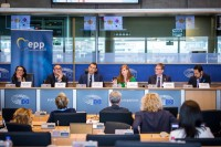 View of one of the discussion panels during the EPP conference at the EU Parliament