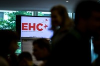 TV with the logo of EHC at the EHC Leadership Conference 2018 Day in Brussels