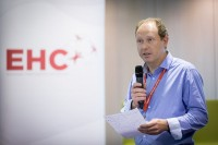A speaker engages the audience at the EHC Leadership Conference Day 2 in Brussels
