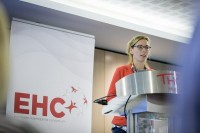 A speaker opens the day at the EHC Leadership Conference Day 2 in Brussels
