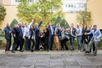 Group funky picture at the In4Wood Final Conference by EURADA, Brussels