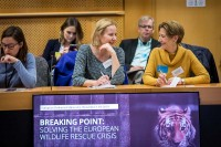 Two attendees talking during the Breaking Point - Solving the European Wildlife Rescue Crisis Conference