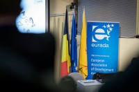 Banner of EURADA and EU flags at the EURADA AGORADA 2018, Charleroi