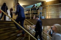 Visitors going up the stairs at the EUSIC 2019 Awards, Albert Hall Complex, Brussels