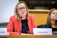 Karen Mets, Save the Children, speaking during the MCE Conference at the EU Parliament