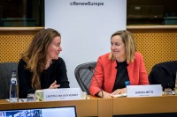 Laetitia Van der Vennet and Karen Mets during the MCE Conference at the EU Parliament