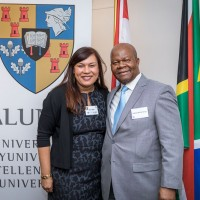 Alison April and Manelisi Genge during the Stellenbosch University cocktail at the South African Embassy, Brussels
