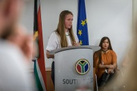 Think Tank student gives a speech during the Stellenbosch University cocktail at the South African Embassy, Brussels