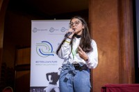 A student girl gives a speech during the Skills for the Future event in Brussels