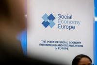 Banner of Social Economy Europe during the Constitutive meeting of the Social Economy Intergroup