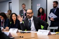 MEP Jordi Cañas Pérez speaks during the Constitutive meeting of the Social Economy Intergroup