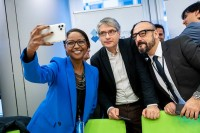 MEPs take selfies during the Constitutive meeting of the Social Economy Intergroup