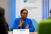 MEP Monica Semedo speaks during the Constitutive meeting of the Social Economy Intergroup