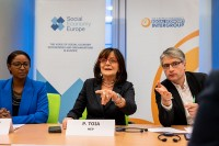 MEP Patrizia Toia speaks during the Constitutive meeting of the Social Economy Intergroup