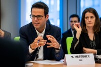 Víctor Meseguer, Director of SEE, speaks during the Constitutive meeting of the Social Economy Intergroup