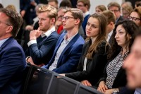 People from the audience listening to a speech during the EU-China Connectivity event in Brussels