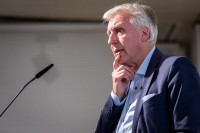 Erich Staake closeup while giving a speech an during the EU-China Connectivity event in Brussels