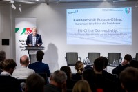 Erich Staake, CEO Duisburger Hafen AG (duisport), gives a speech during the EU-China Connectivity event in Brussels