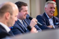 Sven Schulze, MEP, smiles in a discussion panel during the EU-China Connectivity event in Brussels
