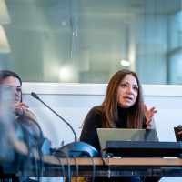 A woman from the audience poses a question during the 2020 Brokerage Event for Innovation Agencies by EURADA