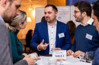 Attendees having a networking conversation during the 2020 Brokerage Event for Innovation Agencies by EURADA