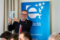 Esteban Pelayo hold an award during the 2020 Brokerage Event for Innovation Agencies by EURADA