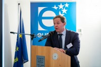 Janos Schmied speaking during the 2020 Brokerage Event for Innovation Agencies by EURADA