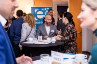 Attendees networking over a coffee during the 2020 Brokerage Event for Innovation Agencies by EURADA