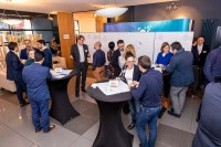 People networking and talking on coffee break during the 2020 Brokerage Event for Innovation Agencies by EURADA
