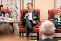 Hartmut Nedebock, GlaxoSmithKline Vaccines, talking at the discussion panel during the GC Summit Belgium 2020