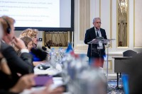 Mahmad Safarov gives a speech during the 9th meeting of the WGECC in Brussels